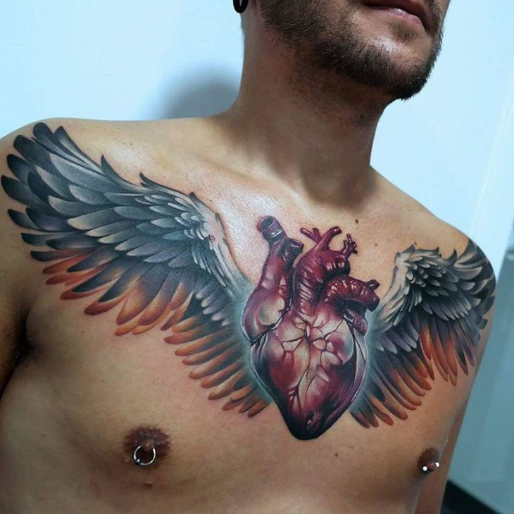 3d heart tattoo on chest