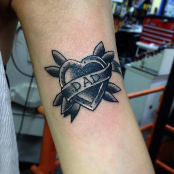 black heart tattoo for forearm