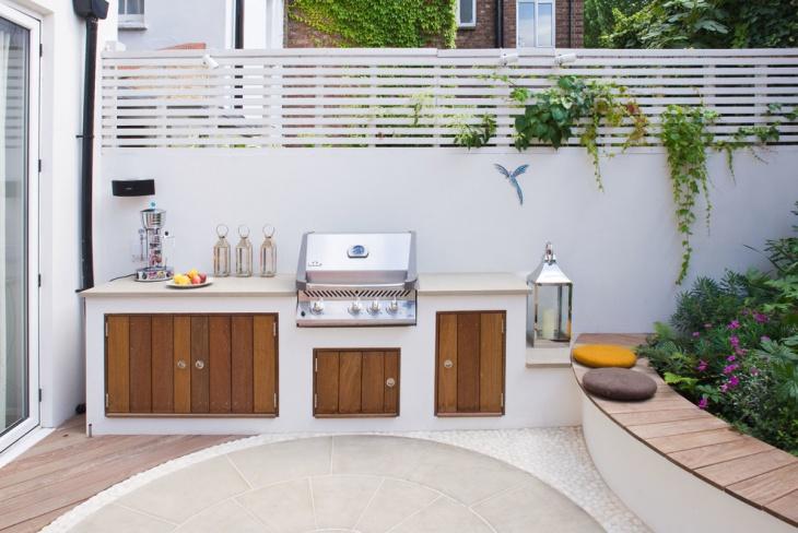 white modern outdoor kitchen