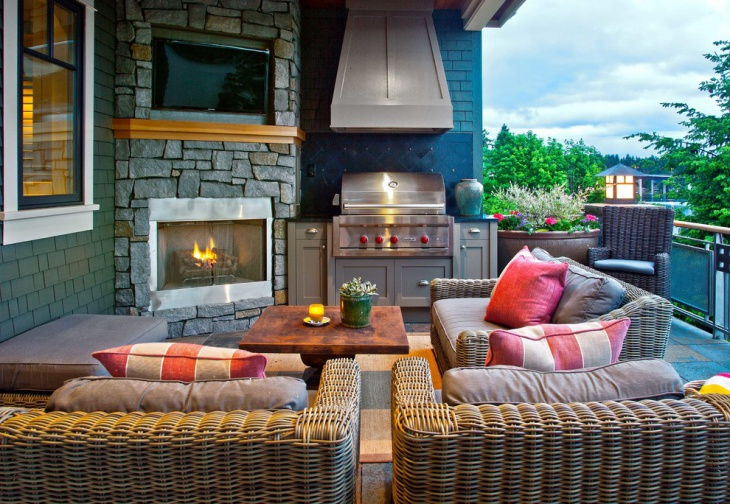 corner outdoor fireplace design