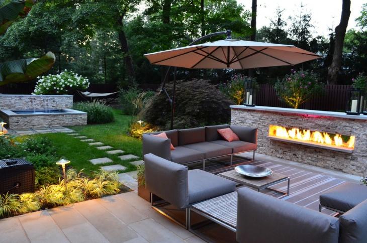 modern outdoor fireplace design