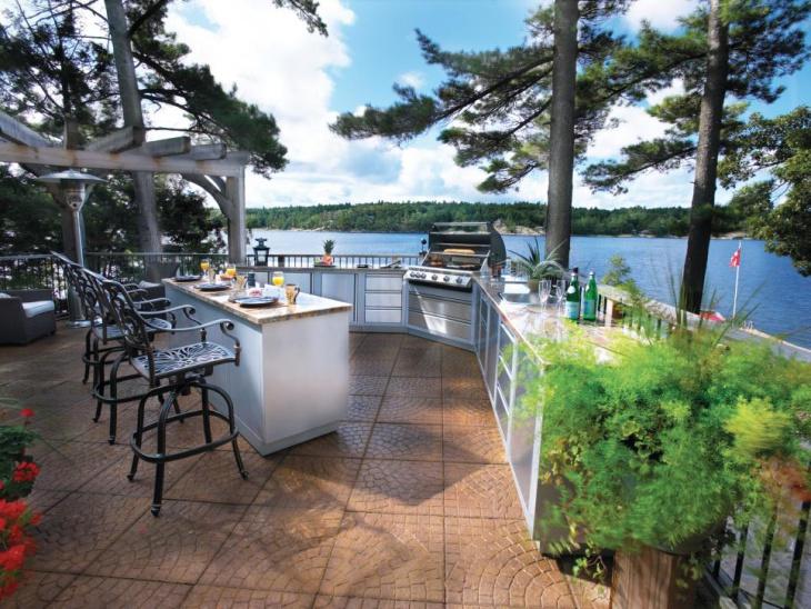 lake side modern outdoor kitchen