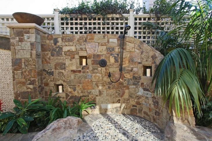 outdoor stone shower design