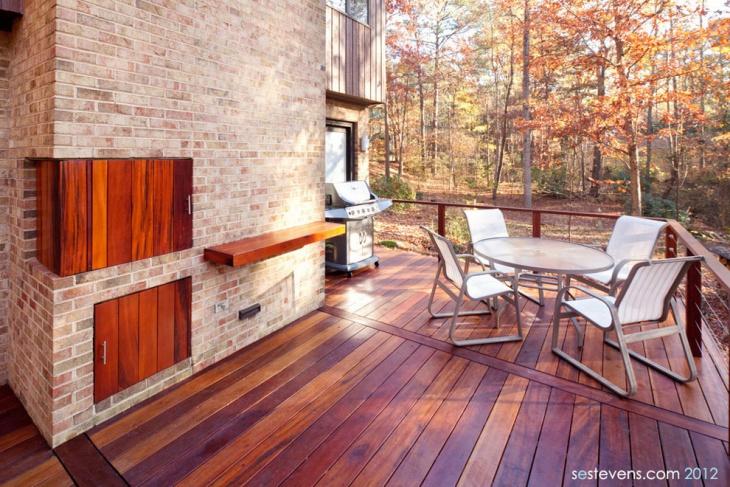 floating wood deck design