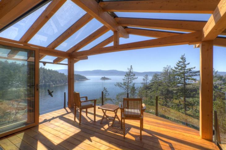 glass enclosed deck