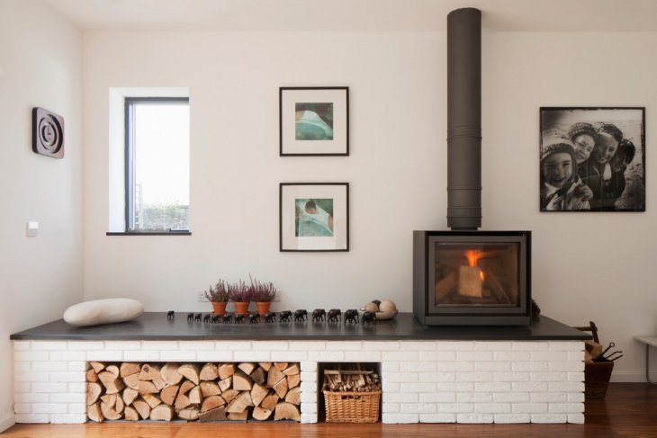 modern wood burner fireplace design