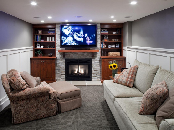 basement corner fireplace design