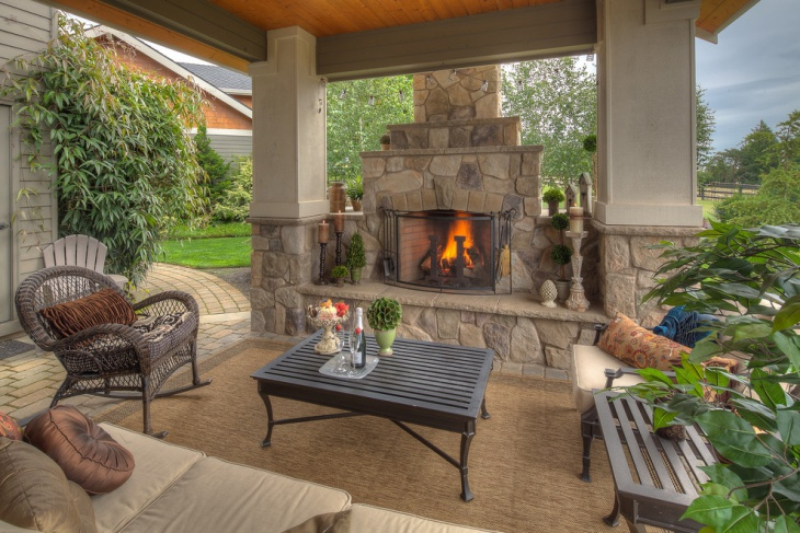 covered patio fireplace design