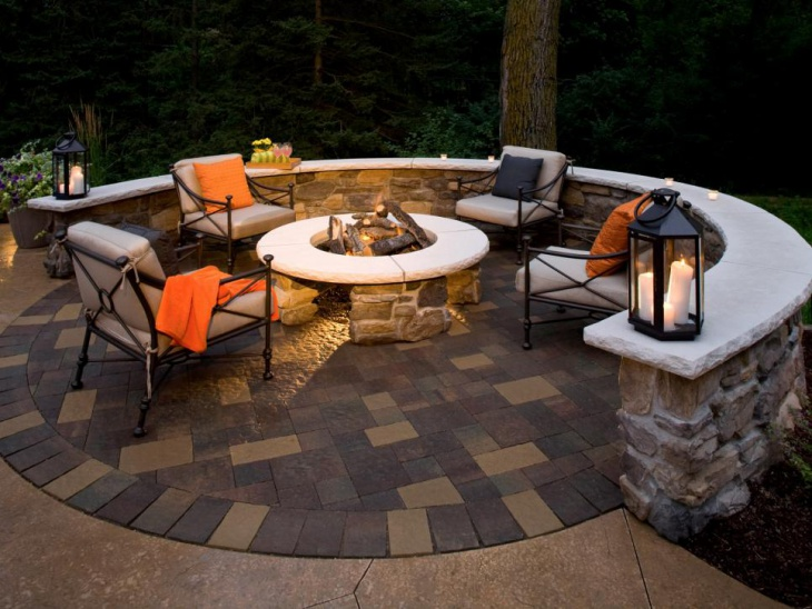 paver patio design with fireplace