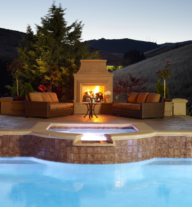 backyard pool fireplace design