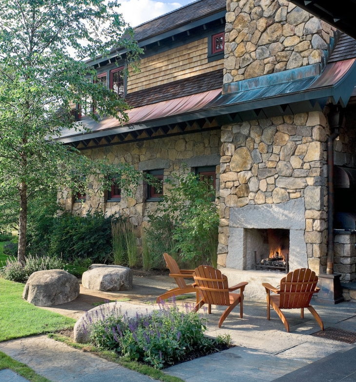 backyard stone fireplace design