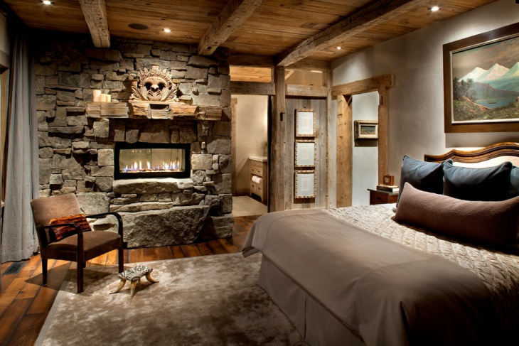 rustic rock fireplace design