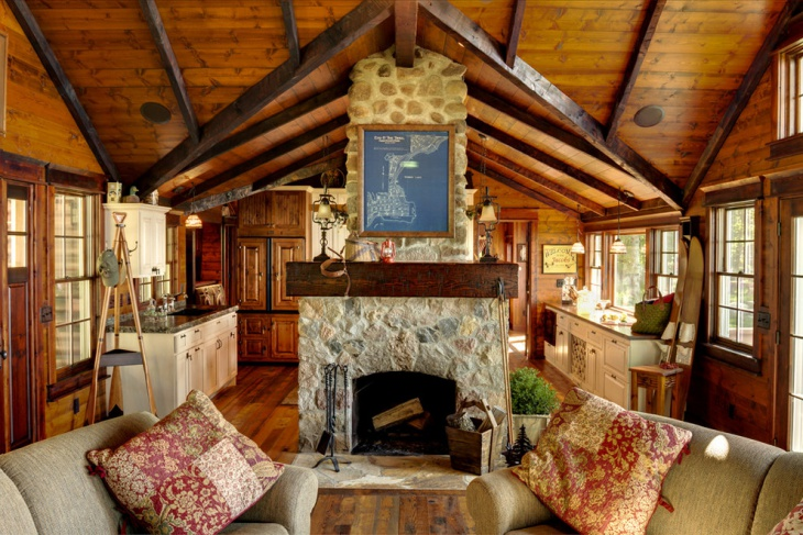 rustic cabin fireplace design
