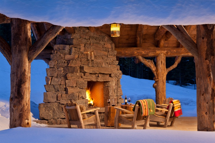 rustic outdoor fireplace design