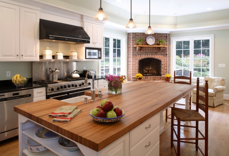 kitchen brick fireplace design