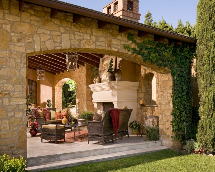 tuscan outdoor fireplace design