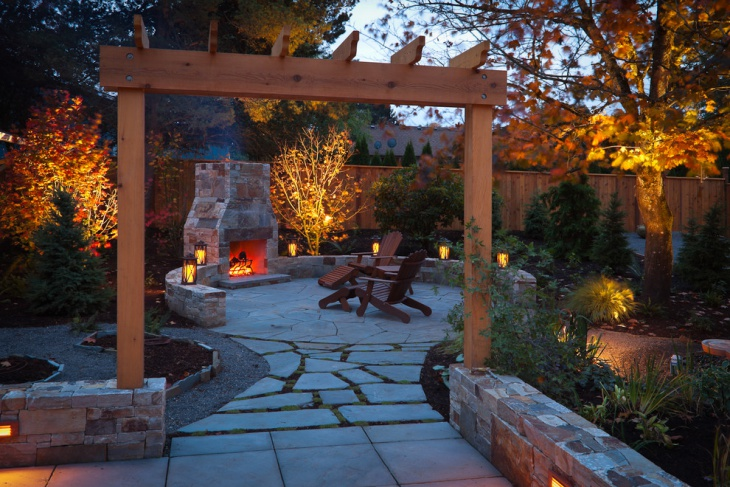 small backyard fireplace designs