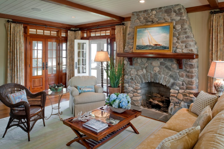 beach cottage fireplace design
