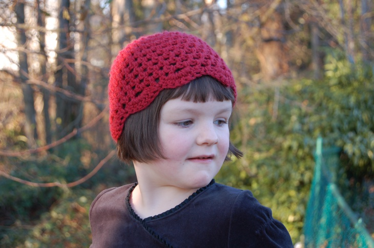 crocheted mesh hat