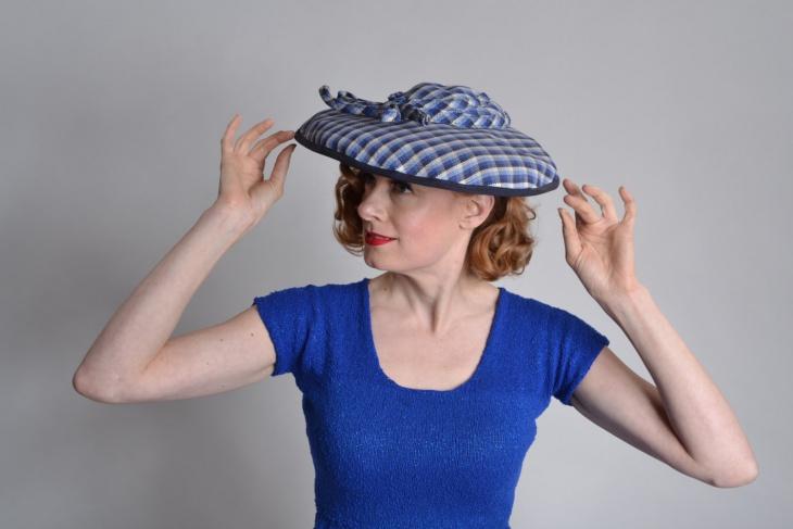 blue plaid hat design