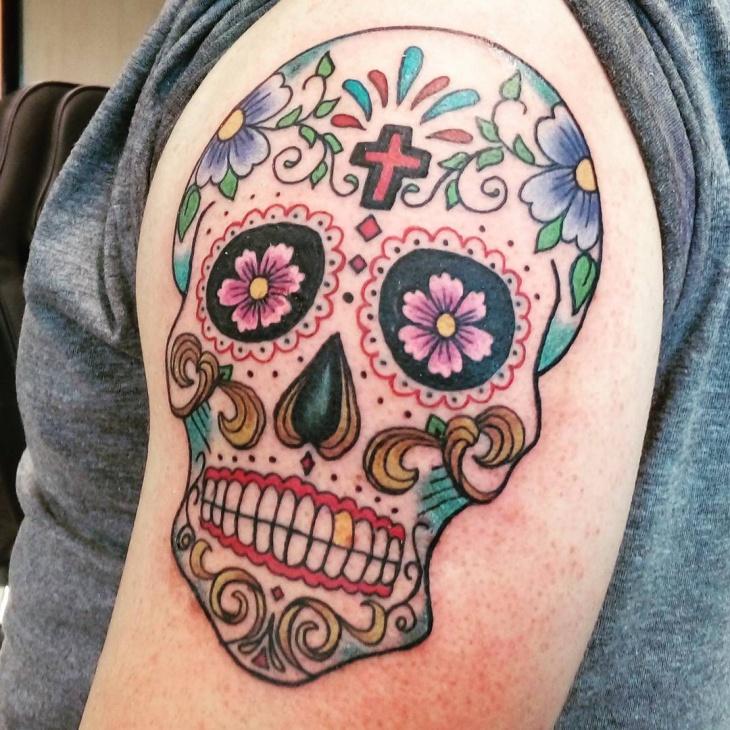sugar skull tattoo for sleeve