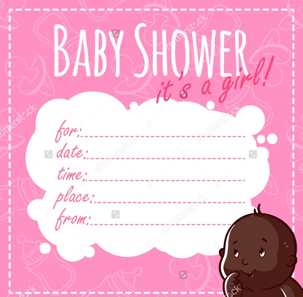 blank baby shower invitation for girls