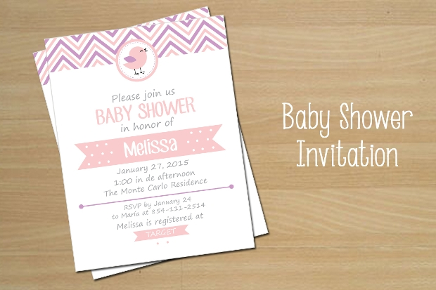 Pink Baby Shower Invitation for Girls