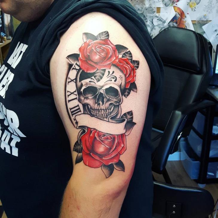 Half Sleeve Skull and Roses Tattoo