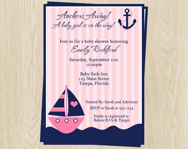 Nautical Baby Shower Invitation for Girls