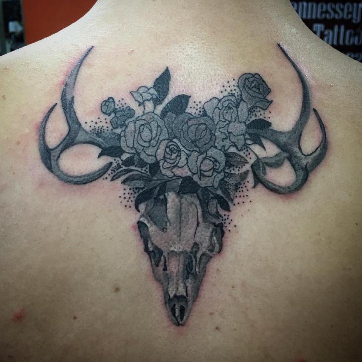 Deer Skull Tattoo for Back