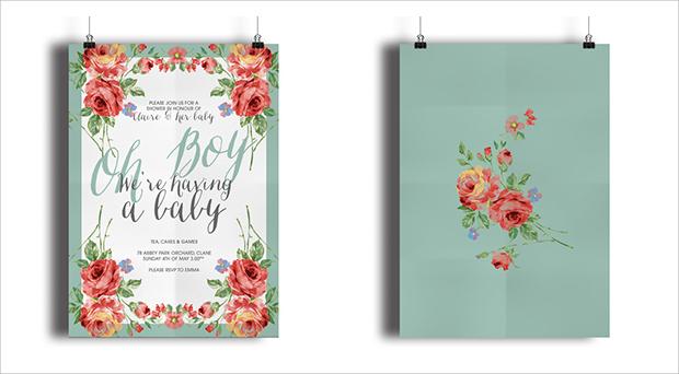 Spring Floral Baby Shower Invitation