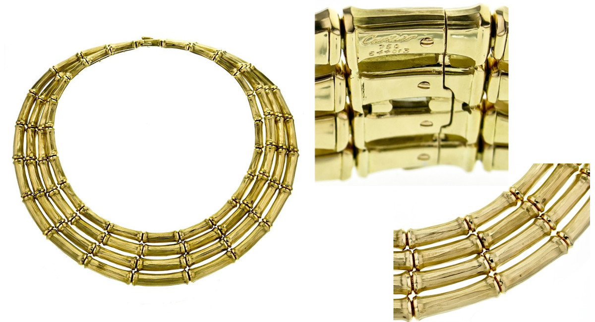 cartier vintage 4 row bamboo choker necklace in 18k yellow gold