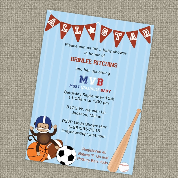 Printable Sports Themed Baby Shower Invitation