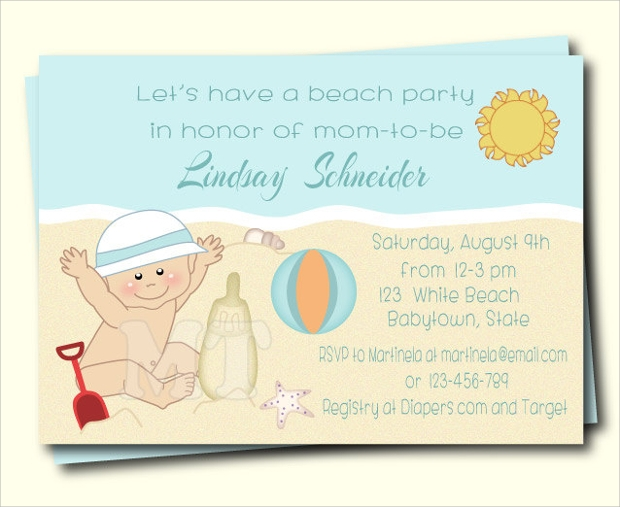 vintage beach baby shower invitation