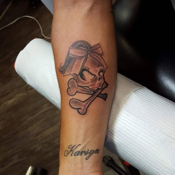 girly skull tattoo for forearm