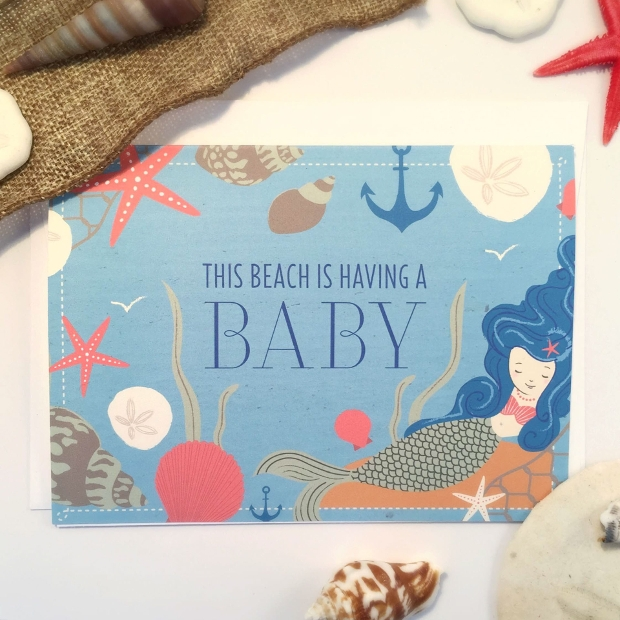 beach baby girl shower invitation