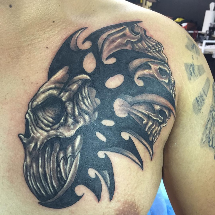 Tribal Skull Tattoo on Chest