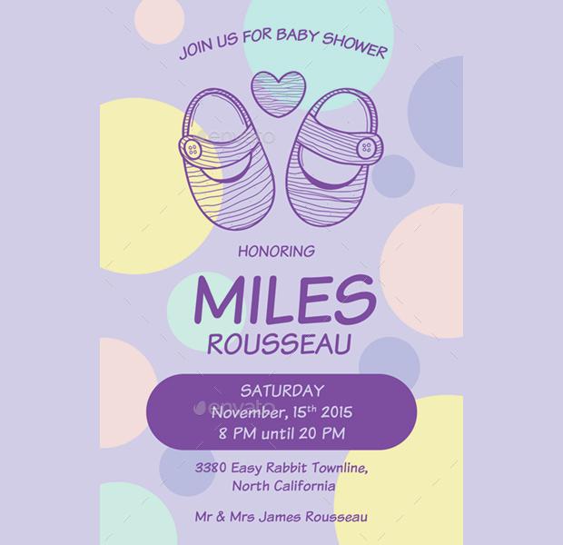 Purple Polka Dot Baby Shower Invitation