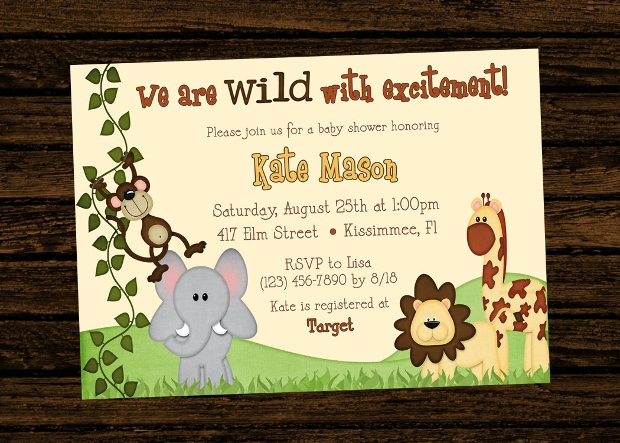 Jungle Themed Baby Shower Invitation