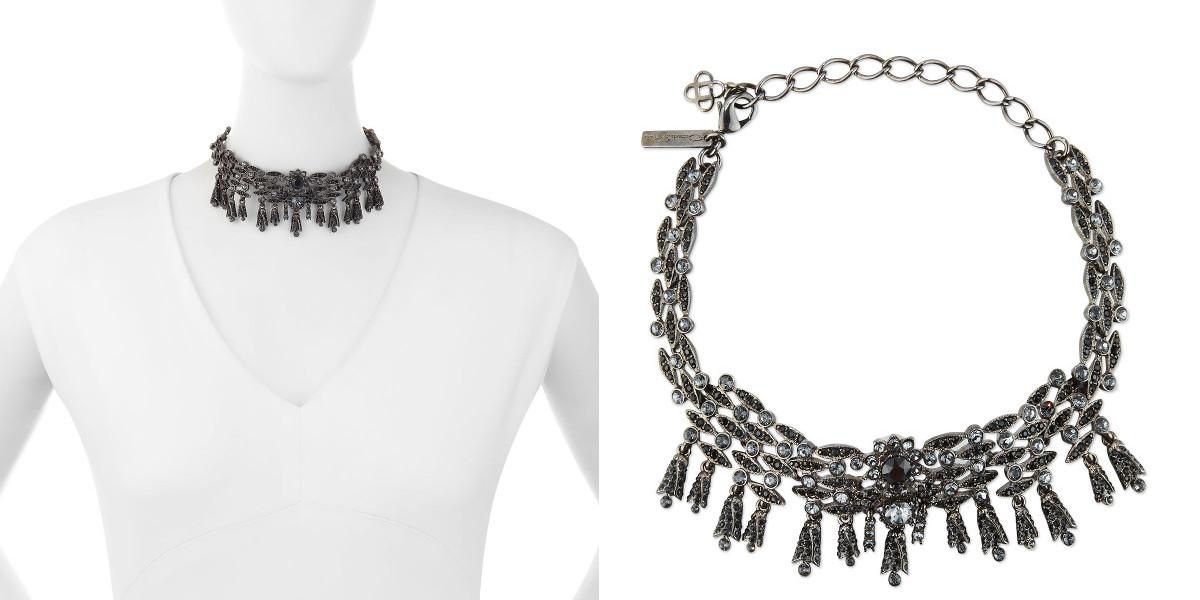 oscar de la renta tulip crystal choker necklace silver