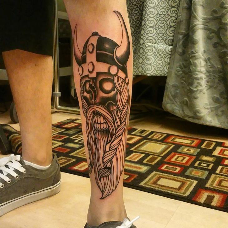 Viking Skull Tattoo for Leg