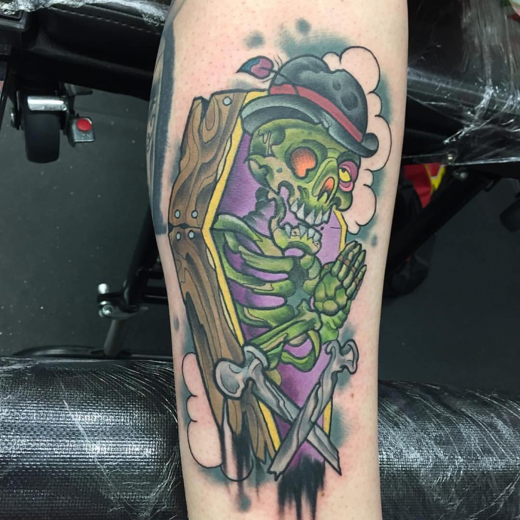 colorful 3d skull tattoo