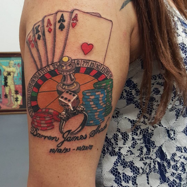 Gambling Casino Themed Tattoo