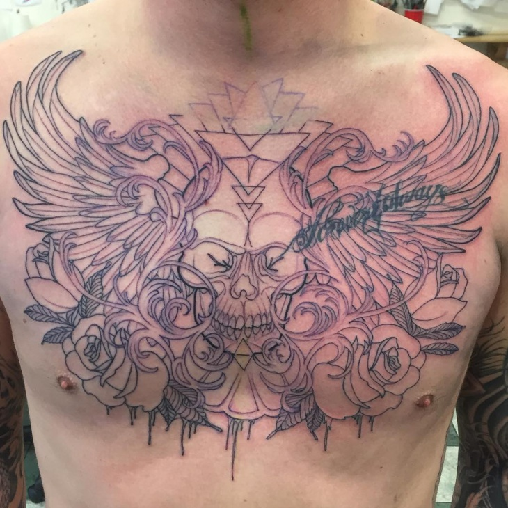 Black and Gray Skull Chest Tattoo