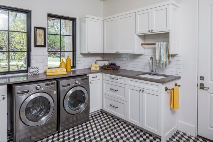 white transitional laundry room design