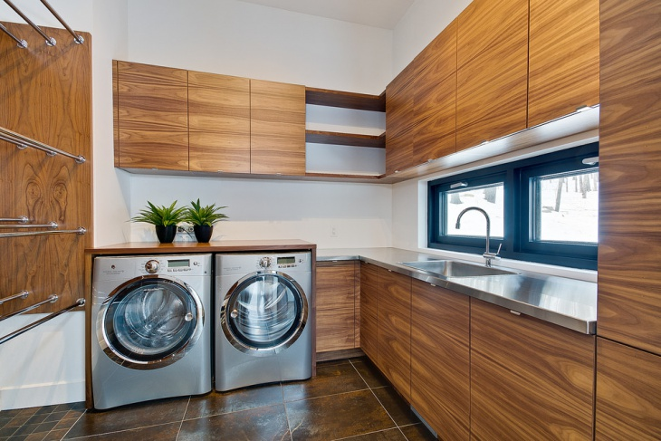 modern l shaped laundry room design