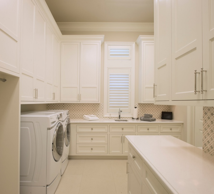 transitional upstairs laundry room