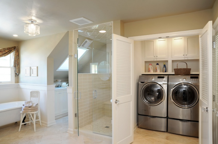 master closet laundry room combo design