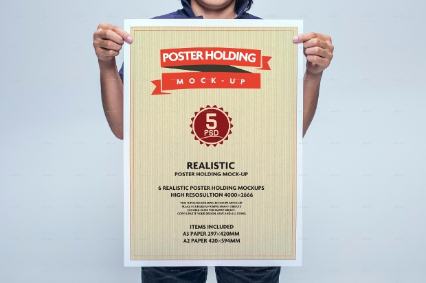 realistic poster holding mockup