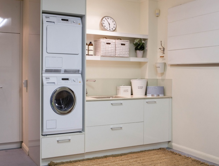 basement narrow laundry room